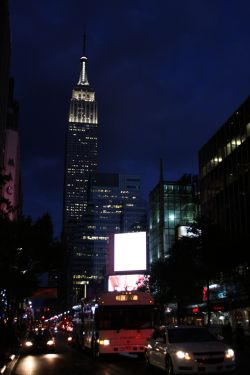 Empire State Building by night, today white