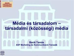 Média és társadalom – társadalmi (közösségi) média
