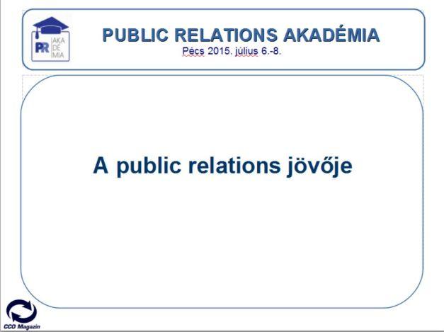 2015. Július 6-8 között került megrendezésre a Magyar Public Relations Szövetség és a Pécsi Tudományegyetem FEEK karának szervezésében a II. Public Relations Akadémai. A II. PR Akadémia első napján az akadémia hallgatói előadásokat hallgattak meg a public relations múltjával, jelenével és jövőjével kapcsolatosan.  A PR Akadémia szervezői arra kértek engem, hogy beszéljek a pr-jövőjéről.